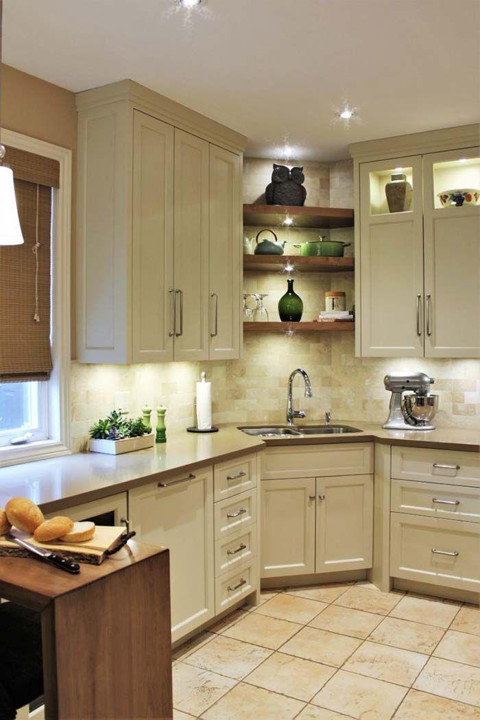 Kitchen Corner Sink With Open Shelves Cornersink Kitchen Sink Decorhomeideas Kitchen Sink Design Kitchen Layout Kitchen Design