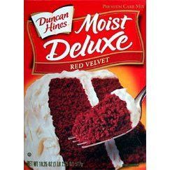 1 box red velvet cake mix. 4 eggs 1 cup sour cream 1 packet of dry instant pudding mix (vanilla) 1/2 cup water 1/2 cup vegetable oil 1-2 cups chopped up milk chocolate (chunky) Bake according to instructions on box. Frost with Cream cheese frosting.