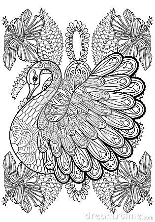 hand drawing artistic swan in flowers for adult coloring pages download from over 40 million. Black Bedroom Furniture Sets. Home Design Ideas