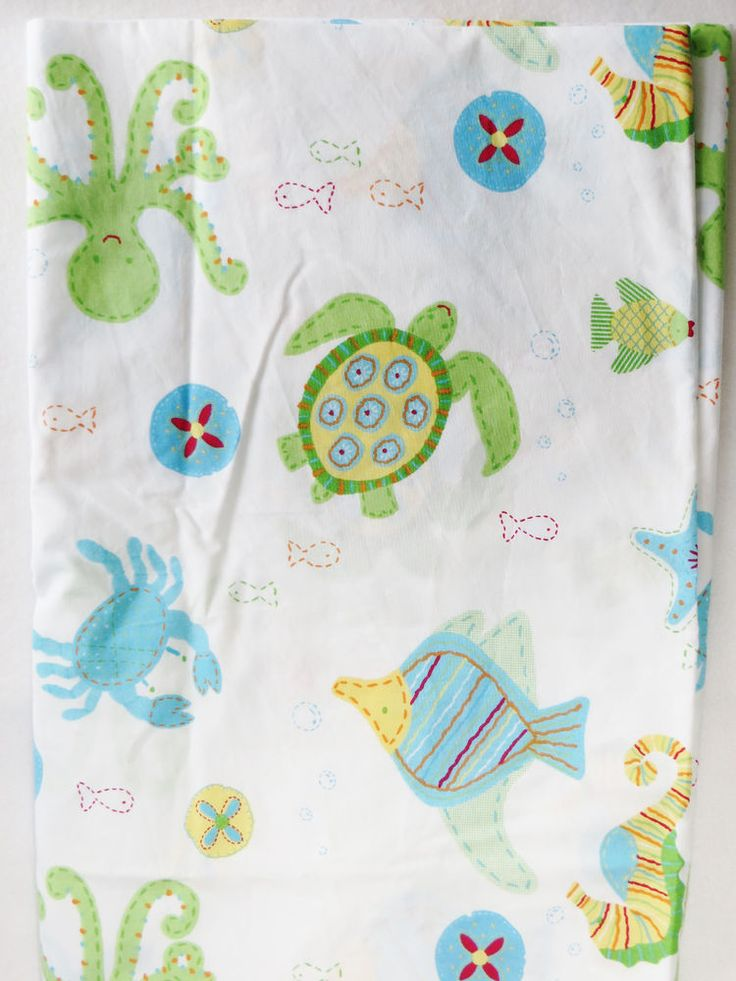 Pottery Barn Kids Ocean Critters Crib Sheet Fish Beach