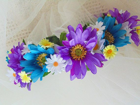 Couronne de fleurs de Marguerite violet et bleu diadème de