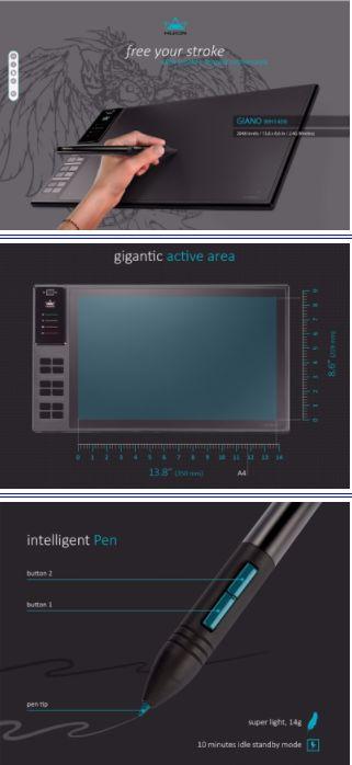 Huion Giano WH1409. Беспроводной цифровой графический планшет. 14-дюймов, встроенный кард-ридер. Tablet.