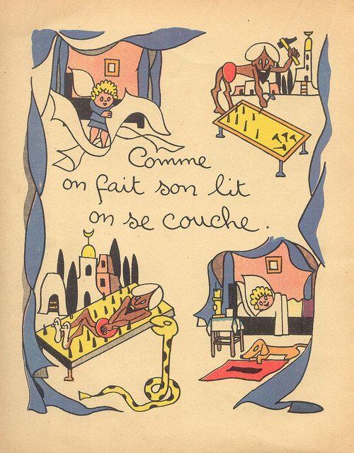 "''30 Proverbes pour les Enfants Sages"" (30 Proverbs for Good Children) by Henri Monier, via Flickr ""You make your bed, you lie on it""."