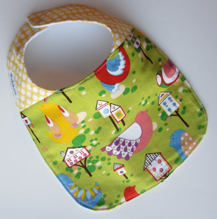 Sale Unisex Baby Bib Pretty Bird Designer Fabric Ready