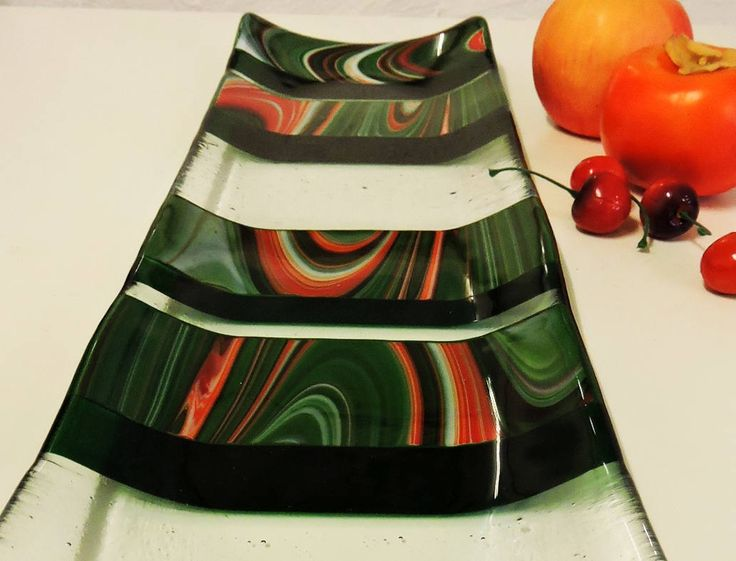 Flinders Rangers we call this one-off design.  Its stunning really.  Its green and orange centrepiece gift |  deep green with orange and white swirling glass big enough to fit one french stick, (17cms x 53cms) by jensstudio on Etsy