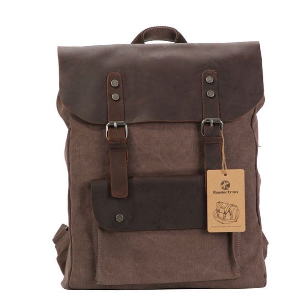 Vintage Genuine Leather Canvas Backpack Rucksack Leisure Bag Coffee Retro    My Style   Pinterest   Backpacks, Bags and Canvas backpack 31d528af31