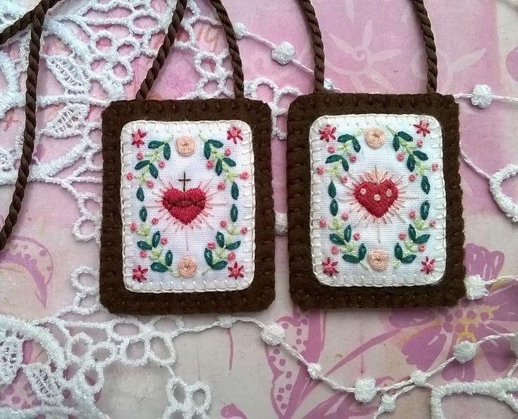 Brown Scapular with hand embroidered Sacred heart and