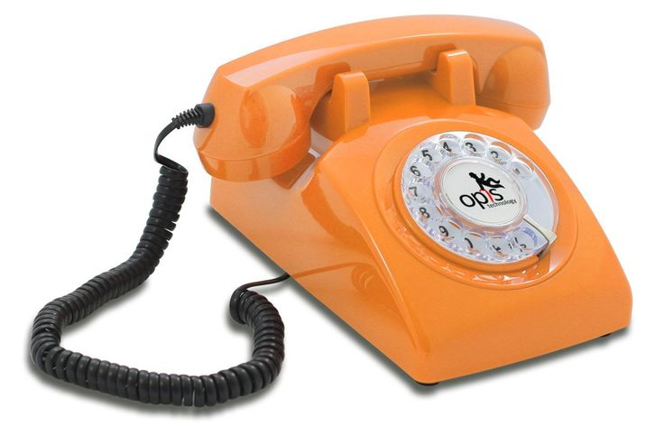 OPIS 60s CABLE: designer retro phone / rotary dial telephone / retro style phone / vintage telephone / classic desk phone with rotary dialler (orange)