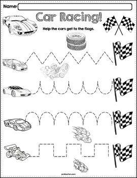trace the pattern race cars worksheets. Black Bedroom Furniture Sets. Home Design Ideas