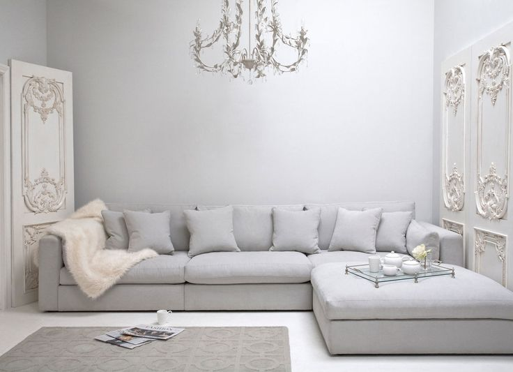 big family sized sofa for living room. Light grey to brighten up the space