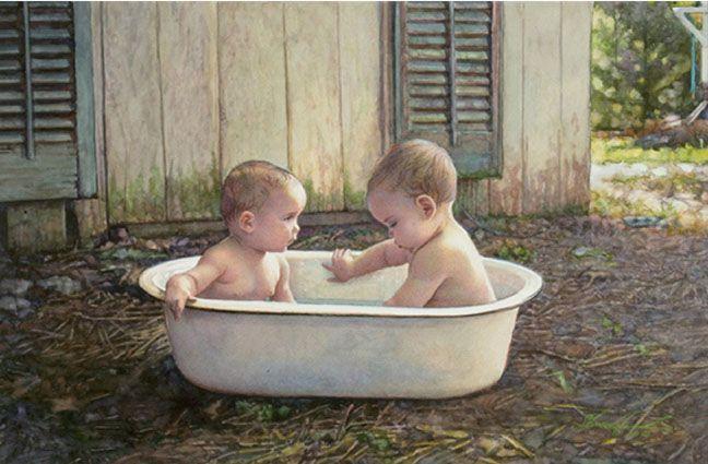 "steve Hanks  ""Baby Bath""  watercolor"