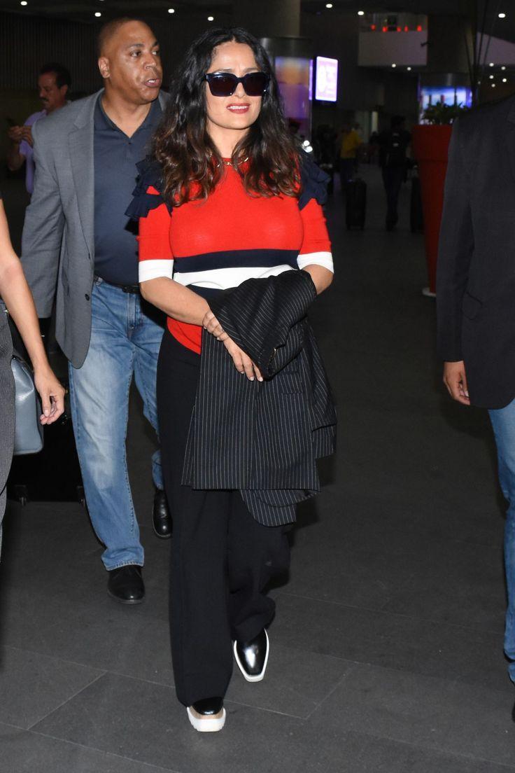 Salma Hayek #SalmaHayek Travel Outfit  Mexico City International Airport 03/05/2017 http://ift.tt/2u45Ibb