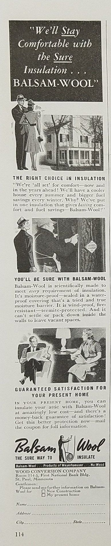 1939 Balsam Wool Insulation Vintage Ad