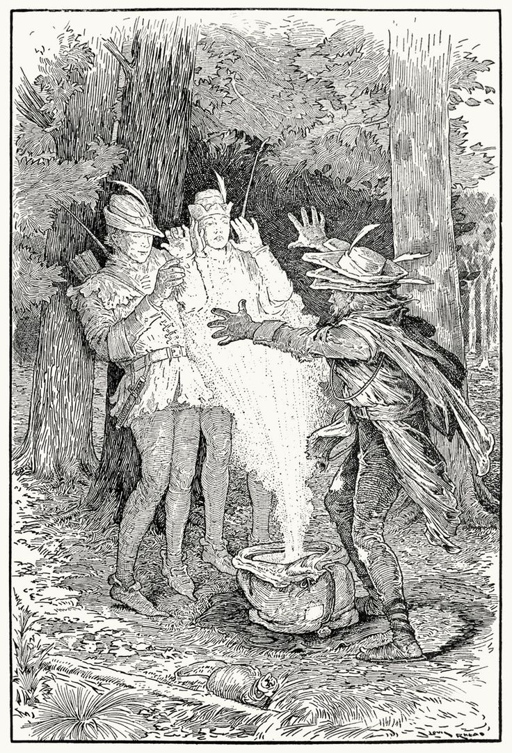 The beggar flung the meal in their face.  Louis Rhead, from Bold Robin Hood and his outlaw band, New York, London, 1912.