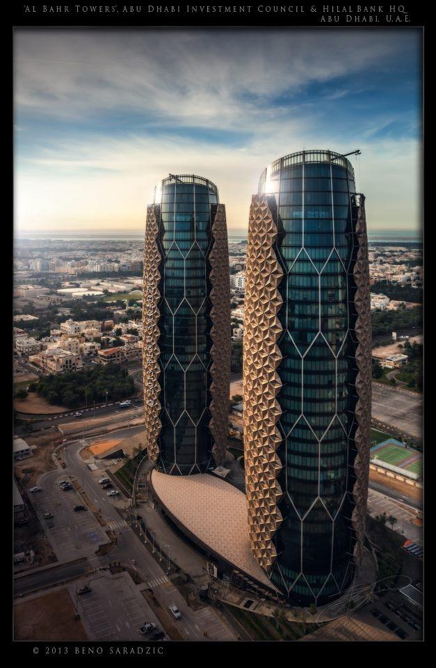 al bahar towers las torres de los emiratos rabes fueron elegidos como el edificio abu dhabimodern