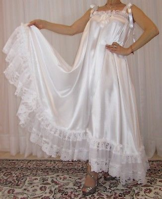 VTG Lingerie Satin Nylon Lace Slip FULL Sweep Negligee Babydoll Nightgown M-6X