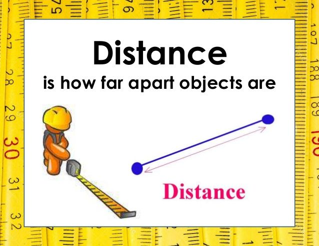Distance is how far apart objects are