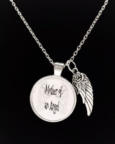Mother Of An Angel In Memory Angel Wing Quote Necklace