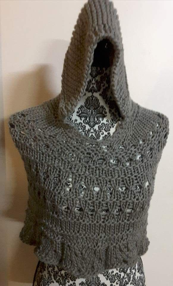 Hooded 12 ply cape .Lace inserts.