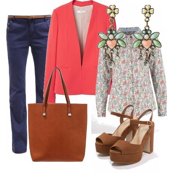 Pantalone a vita alta non troppo aderente, camicia floreale da portare dentro al pantalone, giacca colorata che da luce all'outfit, scarpe comode e borsa giorno capiente. Gli orecchini riprendono il tema floreale e i colori della camicia.