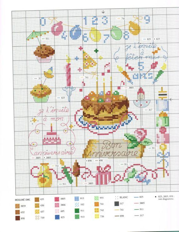 Схемы для вышивки крестом для открыток с днем рождения