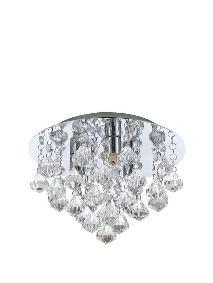 Maya Ceiling Light - Clear Combining the traditional indulgence of chandeliers with the modern simplicity of chrome, this ceiling light is perfect for bringing your space a touch of sparkling style.Hanging from a mirrored plate, diamond shaped acrylic droplets catch the light from each of the 3 halogen bulbs for a dazzling effect.This light is also available separately in other colours:- Black (see item number 4RXLX)- Champagne (4RXM3)Depth: 18 cm. Diameter: 25 cm. Ceiling plate 25 cm…