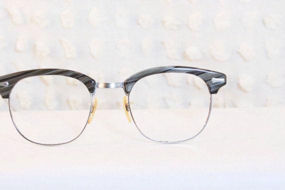 Wood Grain Glasses Frame : 1960s Browline Eyeglasses Gray Wood Grain Diagonal ...
