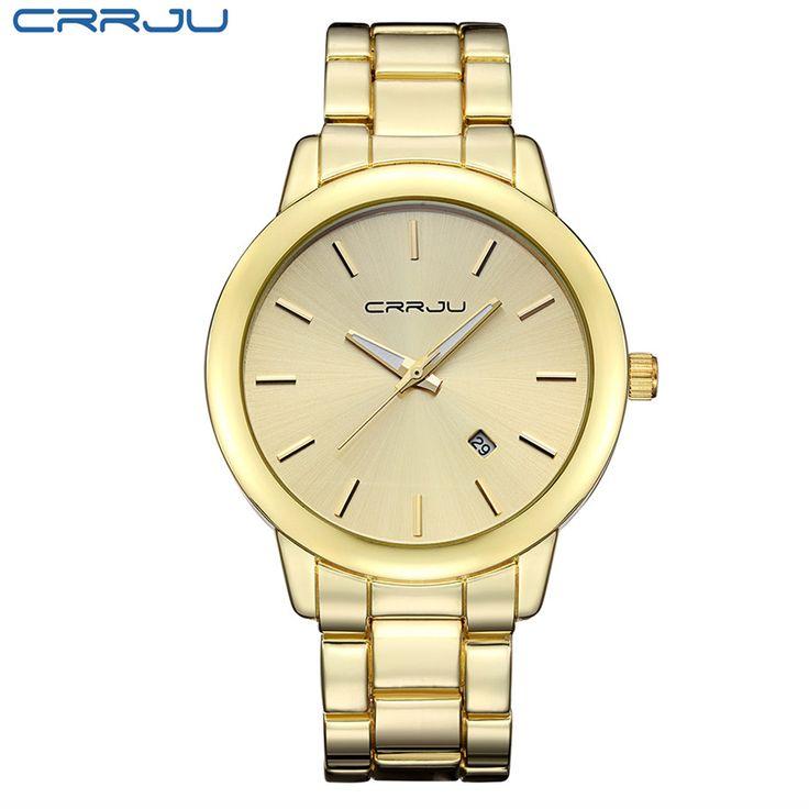 >> Click to Buy << CRRJU Luxruy Rose Gold Stainless Steel Unisex Quartz Women Watch Men Waterproof Calendar Date Brand Hodinky Fashion Casual Clock #Affiliate