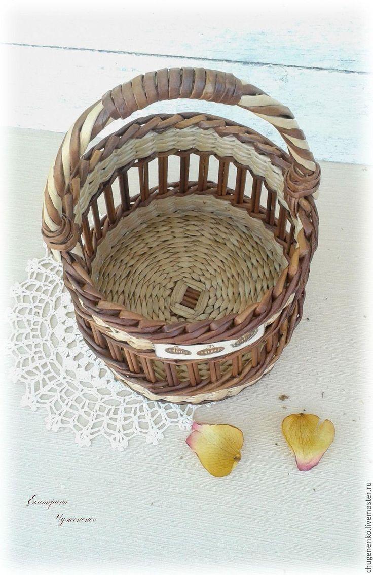 Купить Корзина плетеная Домашняя - комбинированный, плетение, плетение из бумаги, плетеная корзина, корзина♥
