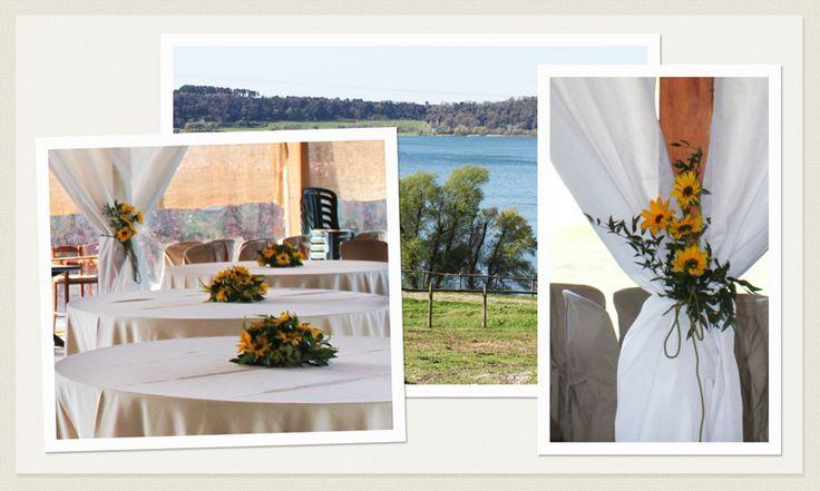 Matrimonio al Lago - Casale di Martignano - Ricevimento Lazio - Sala Ricevimenti - Addobbi Fiori - Fiori Nozze - Centrotavola - Sposa Roma - www.laflorealedistefania.it Matrimonio Giallo - Girasoli - Sunflower Wedding