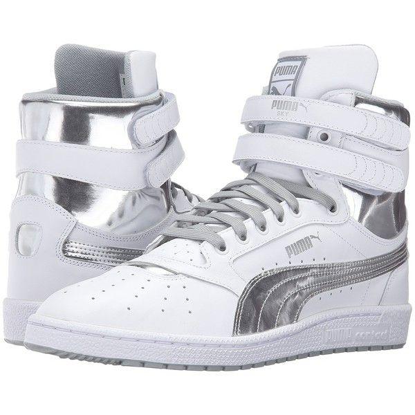 PUMA Sky II Hi FG Foil (Puma White/Puma Silver) Men's Shoes ($73) ❤ liked on Polyvore featuring men's fashion, men's shoes, men's sneakers, puma mens sneakers, mens velcro strap sneakers, mens white velcro sneakers, mens velcro shoes and mens breathable shoes