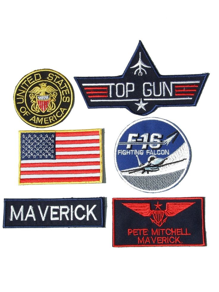 Maverick Pete Mitchell Top Gun Fancy Dress Iron on Patch - Set of 6 Embroidered badges by ONEKOOL on Etsy