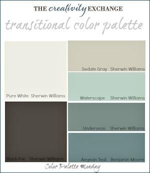 Transitional Paint Color Palette with images of rooms painted in these colors. {Color Palette Monday #3} The Creativity Exchange by stella