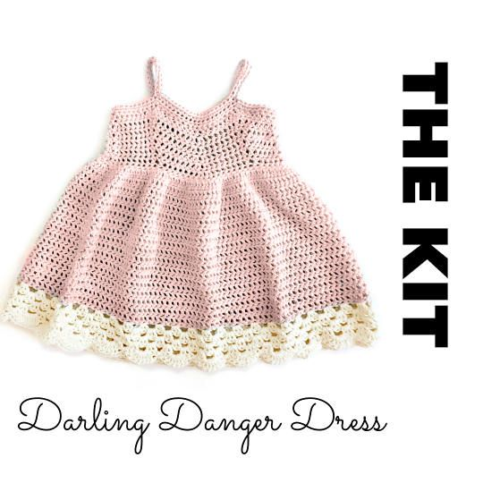 Cute kit to make a crochet dress for babies or toddlers! Comes with all the yarn you need plus the pattern :)