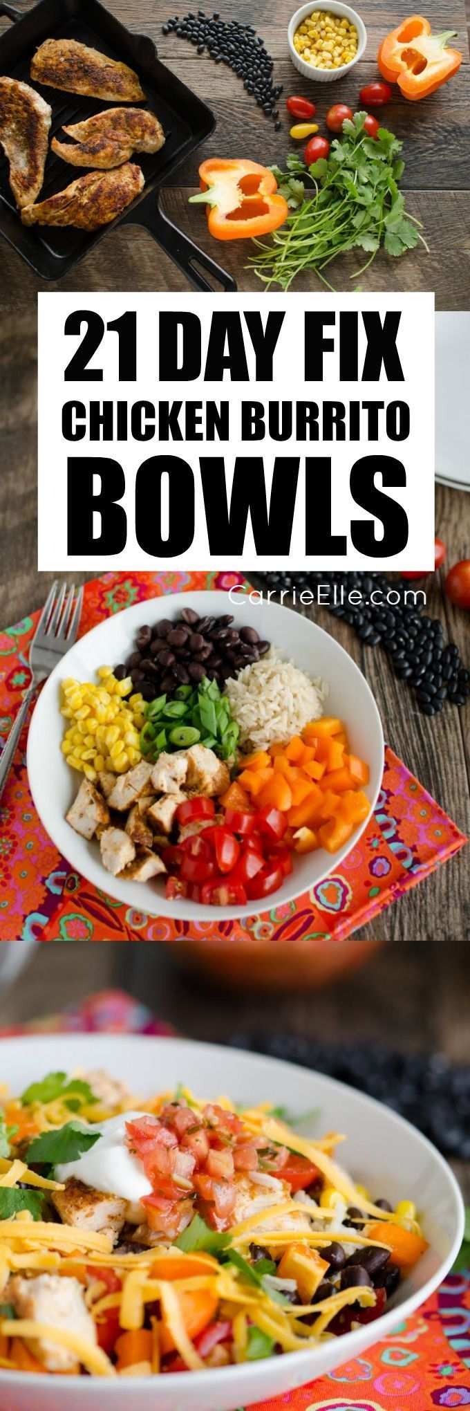 There are so many things to love about this recipe. These 21 Day Fix Chicken Burrito Bowls, which were created by my friend Chellie over at Art From My Table, a