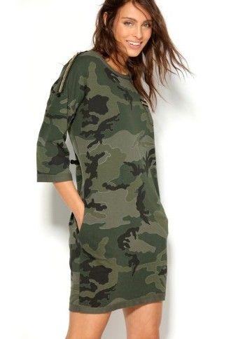 Meltonové šaty s maskáčovým designem #ModinoCZ