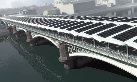 A computer-generated image of Blackfriars railway station across the Thames, covered with 4,400 solar panels.