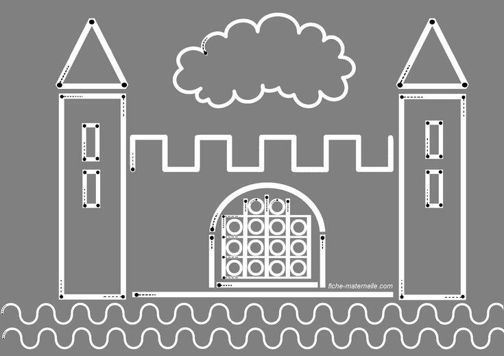 Schrijfpatroon kasteel, free printable / piste-graphique-chateau