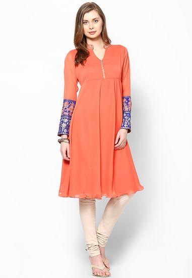 Peach Solid Anarkali - Svarikaa Kurtas & kurtis for women | buy women kurtas and kurtis online in indium