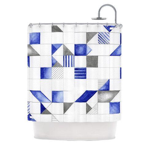 "Kira Crees ""Winter Geometry"" White Blue Shower Curtain | KESS InHouse"