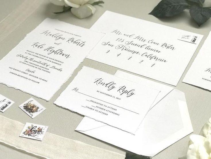 Deckled Edge Wedding Invitation Set Printed Hand Torn Invite Etsy In 2020 Wedding Invitation Sets Invitation Set Wedding Invitations