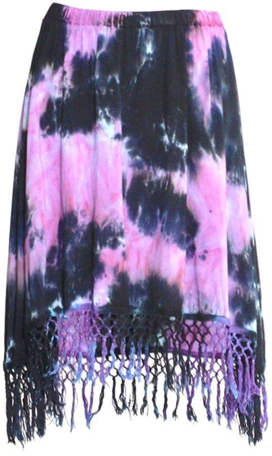 Voriagh Tie-Dye Violet Mauve Noir Emeraude Keyra - Jupe - Franges