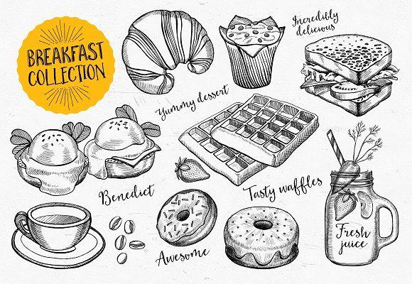 Breakfast doodle elements by BarcelonaShop on @creativemarket