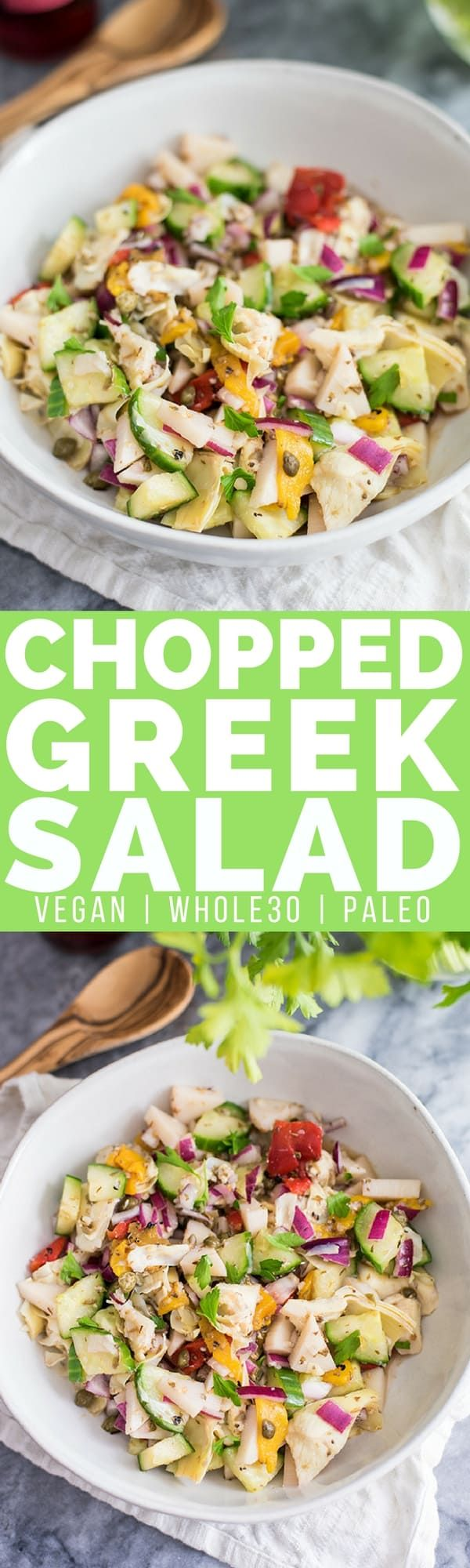 This chopped greek salad is the perfect lunch or dinner recipe! Vegan, paleo, grain free and Whole30 approved!  | Posted By: DebbieNet.com