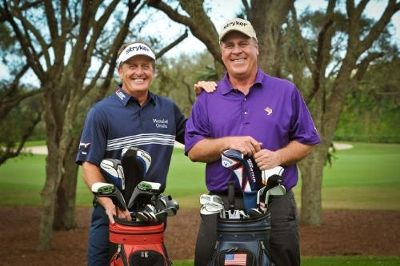 Stryker ambassadors and Champions Tour golfers Fred Funk and Hal Sutton. #celebgenie.com.