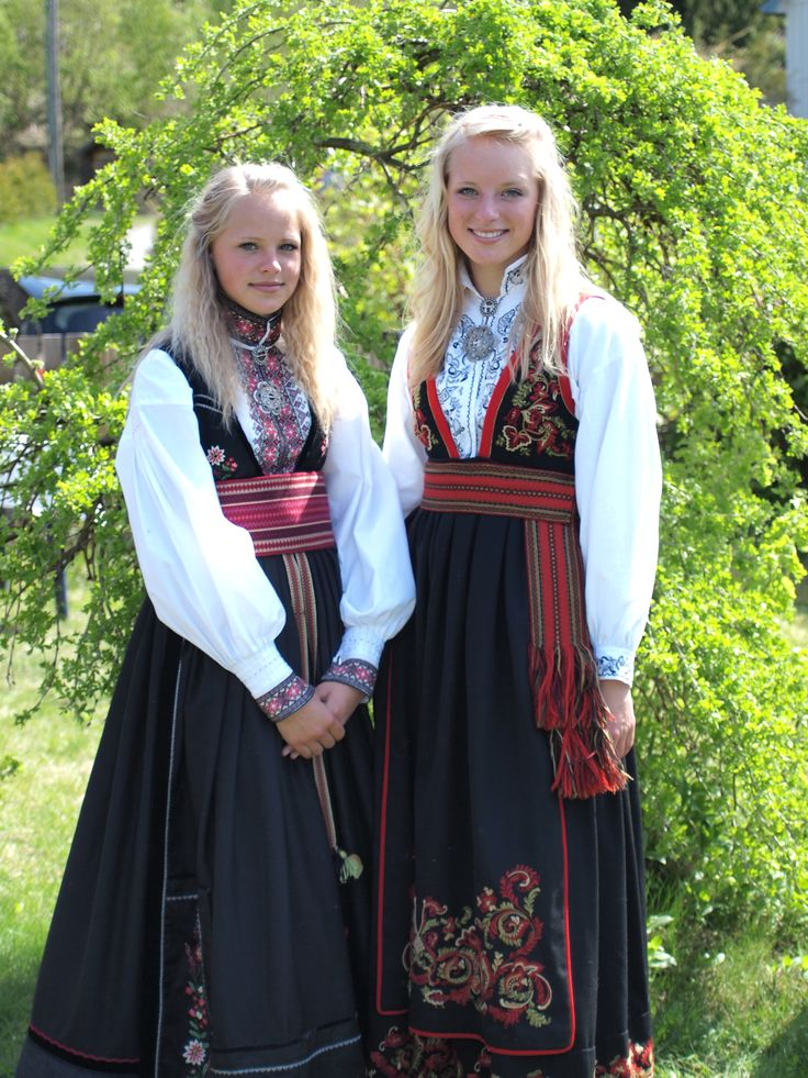 Girls from Norway in traditional Norwegian dress.