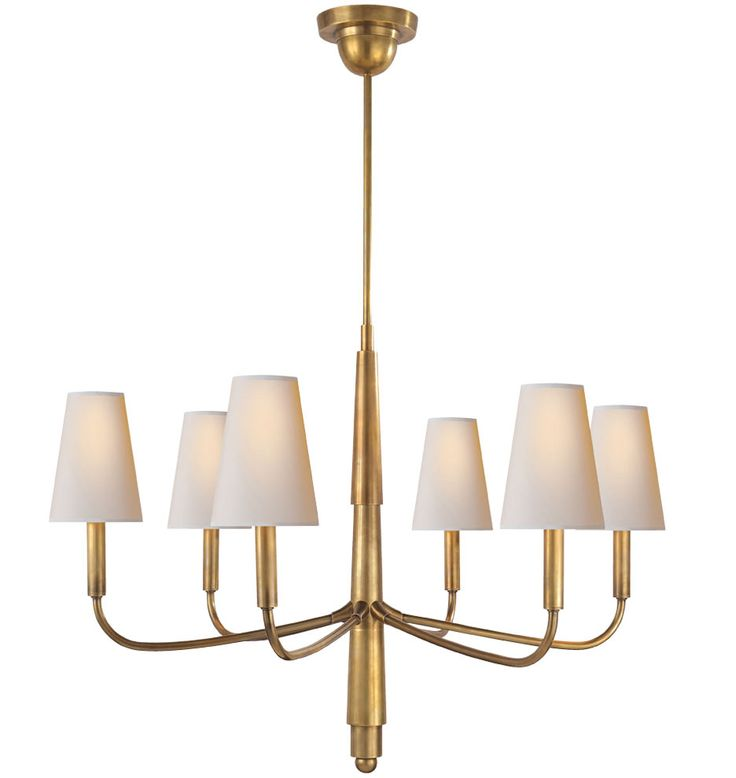 Visual Comfort Thomas OBrien Farlane Small Chandelier In Bronze And Hand Rubbed Antique Brass With Natural Paper Shades