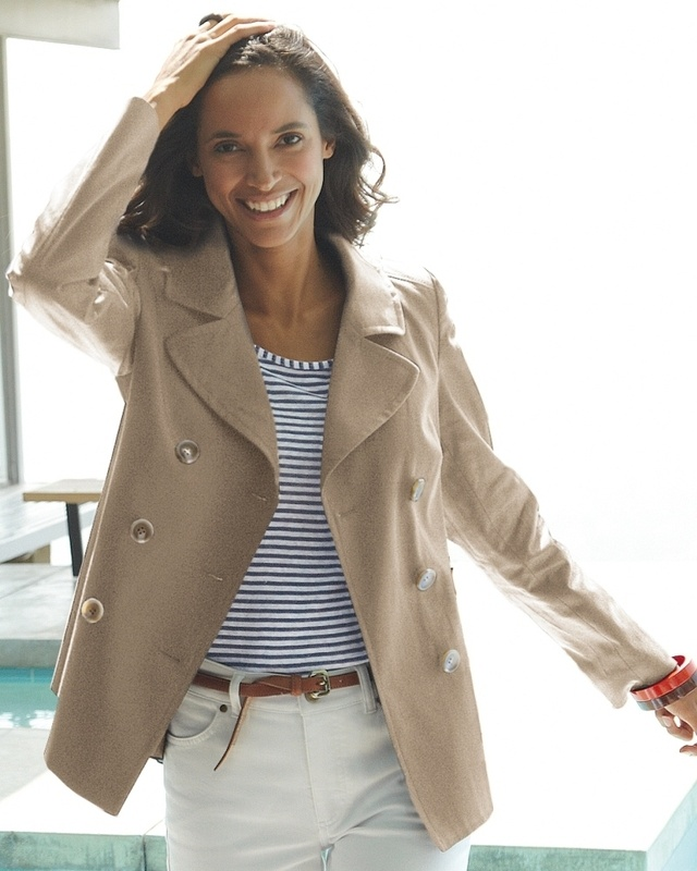 Cute: Tees Shirts, Style Inspiration, Tans Peacoats, Beige Jackets, White Pants, White Jeans, Breast Peacoats, My Style, Blue And White