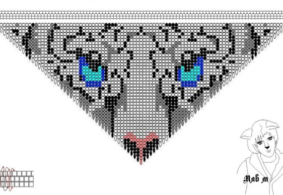 Схемы: Колье белый тигр