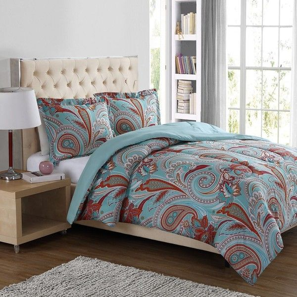 Boho Paisley 3-Piece Comforter Set in Blue ($30) ❤ liked on Polyvore featuring home, bed & bath, bedding, comforters, blue king comforter, blue comforter, oversized king comforters, twin comforter and king size comforter